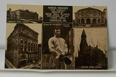 CARNEGIE PITTSBURGH PA POSTCARD 1910 HONUS WAGNER BASEBALL PLAYER HOMETOWN