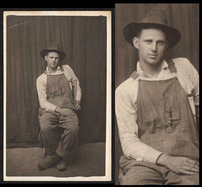 SEXY SLOUCH MOVIE-STAR HANDSOME FARMER MAN in OVERALLS~ 1910s VINTAGE PHOTO gay