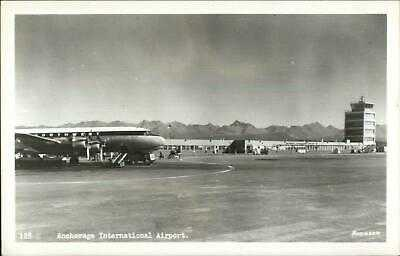 Anchorage ASK Airport Northwest Airplane Real Photo Postcard