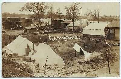 Gary Indiana Real Photo Postcard RPPC early 1900s tent city to Monroeville IN