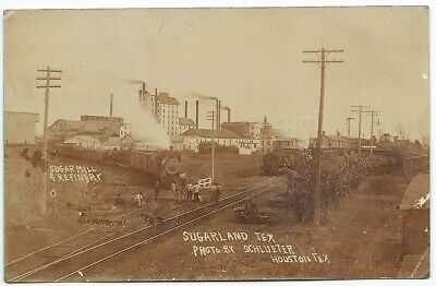 Sugarland Texas Postcard 1907 postmark Sugar Mill Refinery Railroad near Houston