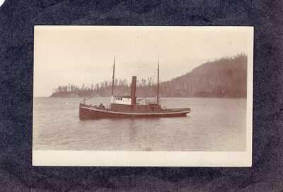 "RPPC Real Photo Postcard: Tugboat ""Wallowa"" on lake, Oregon"