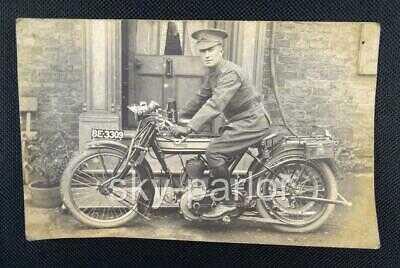 WW1 MACHINE GUN CORPS DISPATCH RIDER ON NORTON 16H MOTORCYCLE PHOTO POSTCARD