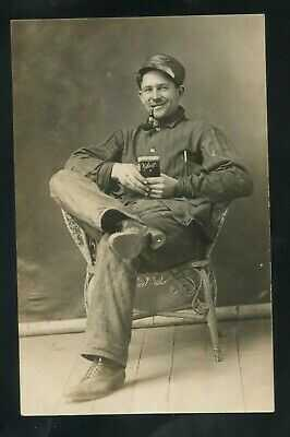 RPPC Velvet Tobacco PIPE Smoking and Denim Jean Shirt ?? real photo RP postcard