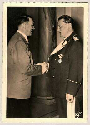 WWII PHOTO ADOLF HITLER & REICHSMARSHALL GORING NAZI GERMANY RPPC POSTCARD