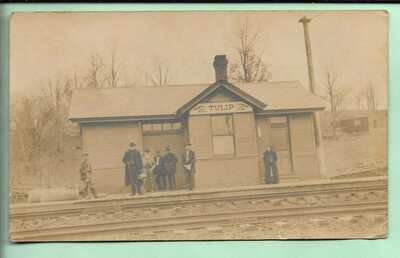 RPPC. TULIP RAILROAD STATION. TULIP, INDIANA. 1909. GREENE COUNTY.