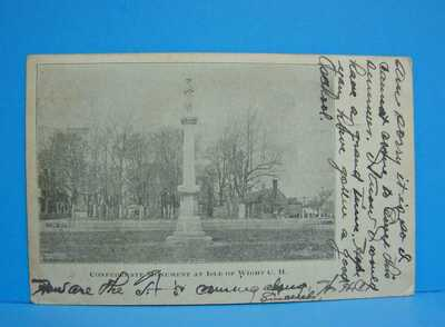 Rare 1907 Isle of Wight Court House Va. postcard Confederate Monument Virginia