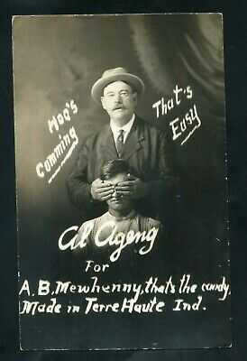 1910 RPPC Salesman CANDY Advertising Terre Haute INDIANA real photo RP postcard