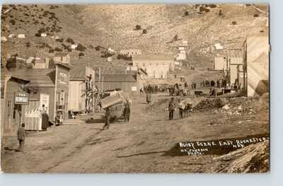East Rochester NEVADA RPPC real photo postcard 1913 OG&SF RR fastmail postmark