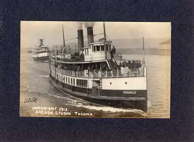 "Real Photo Postcard RPPC: Puget Sound ferry ""Nisqually""  - Tacoma, Washington"