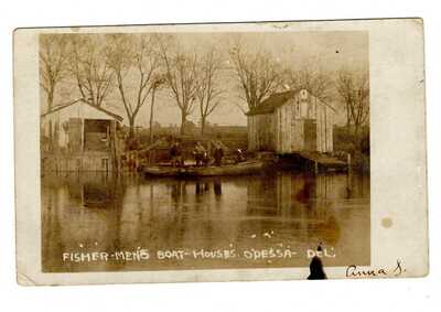 RPPC~FISHERMAN'S BOAT HOUSES~ODESSA DE~1907
