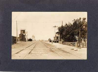 Real Photo Postcard RPPC: Train Depot & rail yards - Otis, Colorado