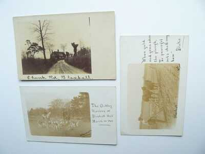 3 x RP Blaxhall Postcards Oakley Harriers Fox Hunting Foxhounds Horse & Plough