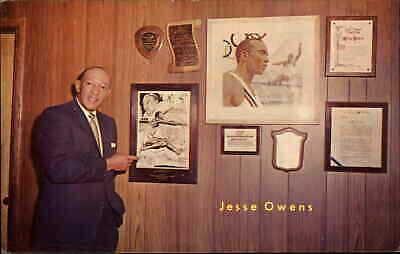 Black Americana Olympian Jesse Owens c1950s-60s Postcard AUTOGRAPH
