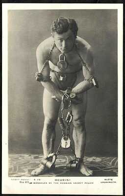 "VINTAGE POSTCARD, HARRY HOUDINI ""MANACLED BY THE RUSSIAN SECRET POLICE"" RARE RP."