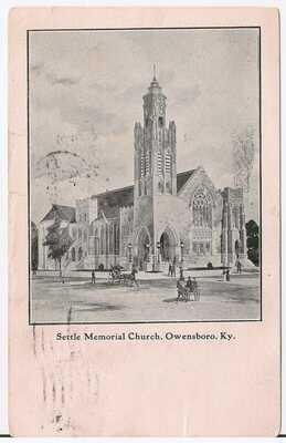 Settle Memorial Church in Owensboro KY Postcard 1911