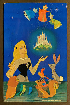 Disneyland Vintage Postcard SLEEPING BEAUTY with Forest Friends & Good Fairies