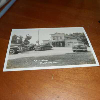 RPPC Postcard EDD Cowles, Clam River, Mich., cars date photo