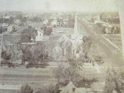 Early Topeka Kansas Stereoview / Church Circa 1870