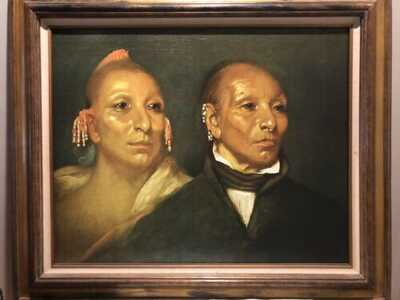 John Wesley Jarvis Framed Canvas - 'Black Hawk and his son Whirling Thunder'