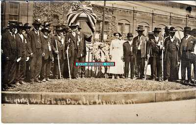 ROCHESTER NY BLACK VETERNS LAYING WREATH AT F. DOUGLASS MONUMENT REAL PHOTO RPPC