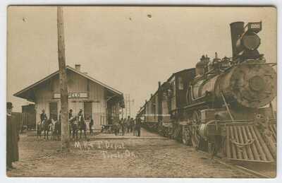 GREAT Old Real Photo PC MK&T Katy Railroad Steam Engine @ Depot Tupelo Oklahoma