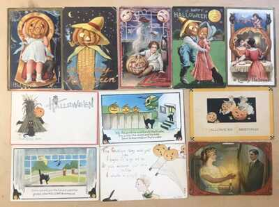 Antique Halloween Postcards (11 Cards) 1910 Era