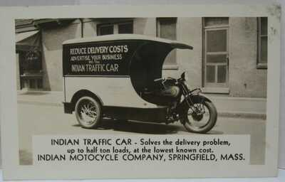 1920's/30's Indian Motorcycle Traffic Car RPPC Postcard