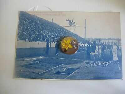 Greece Athens Olympics 1906 Pole Vault Competition Animated Scene Postcard