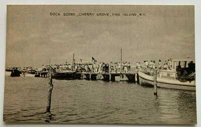 NY Postcard LI New York Fire Island Cherry Grove Dock Scene boats crowd (Tomlin)