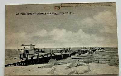 NY Postcard LI New York Fire Island Cherry Grove At the Dock boats nets (Tomlin)