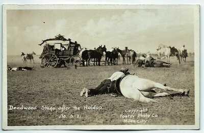 Deadwood Stage Holdup South Dakota Real Photo Postcard RPPC Dead horses & gunmen