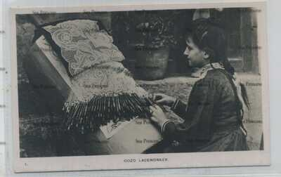 Malta postcard Gozo laceworker c1910 by Farrugia
