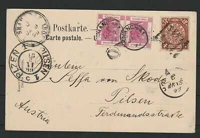CHINA 1899 POST CARD WITH 4c.COILING DRAGON +PAIR QV 2c  HONG KONG TO AUSTRIA