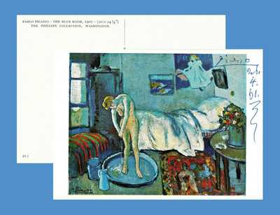 "PABLO PICASSO. Signed art postcard ""THE BLUE ROOM"" - painted at 19, BLUE PERIOD"