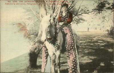 Hawaii HI Woman on Horse - Karl Lewis Yokohama c1905 Postcard