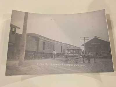 CAINSVILLE MISSOURI CBQ STATION Railroad Depot B&W Real Photo Postcard RPPC