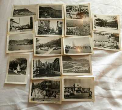16 Vintage Photographs Hong Kong 1953? Airport Streets Etc