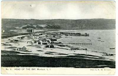 Montauk LI NY -HEAD OF THE BAY TO RAILROAD DOCK- Postcard