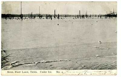Tiptonville Tenn TN -REELFOOT LAKE UNDER ICE- Postcard Lake County RMS RPO