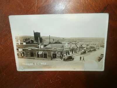 Vintage Antique 1923 RPPC Photo Postcard Tijuana Mexico Aerial Street Scene