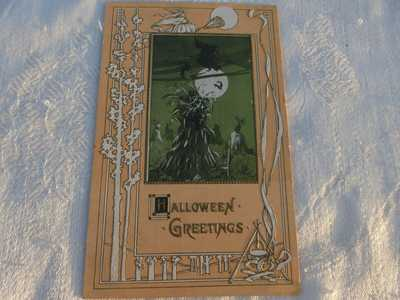 Halloween Post Card- Unposted Antique Embossed Witch flying over the Moon