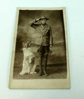 Antique Photo of Boy Scout Cub Scout with Dog Cabinet Photo Postcard