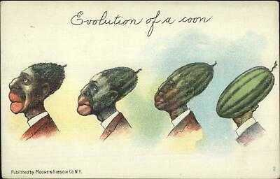 Black Americana Watermelon Evolution Metamorphic Moore & Gibson Postcard
