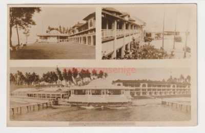 SINGAPORE SEAVIEW HOTEL PANORAMIC VIEW FROM SEA REAL PHOTO POSTCARD 1937 - 1