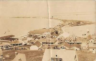 1919 RPPC Bird's Eye View Carousel Stores Bathing Pavilion Watch Hill RI as is