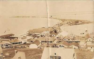 1919 RPPC Bird's Eye View Carousel Stores Bathing Pavilion Watch Hill RI as is