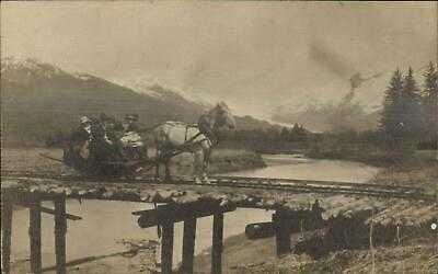 Alaska AK Where? Horse Drawn Car RR Train Tracks c1910 Real Photo Postcard #1