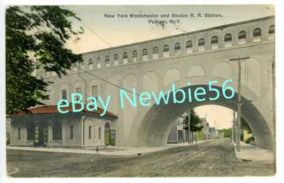 Pelham NY-NEW YORK WESTCHESTER & BOSTON RAILROAD STATION-Postcard NYW&BRR Rare!