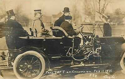 IL Illinois Champaign President Taft Visit RPPC 1911 Real Photo Postcard #288